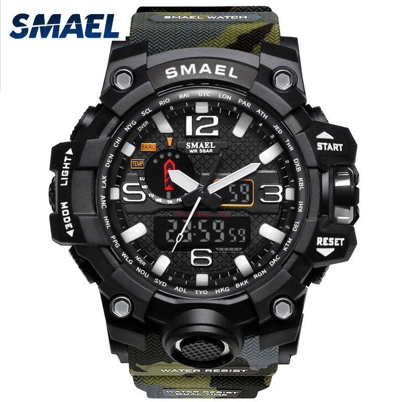 Montre militaire numérique SMAEL marque montre S Shock montre pour homme montre de Sport LED de plongée 1545B 50m étanche Fitness Sport montres