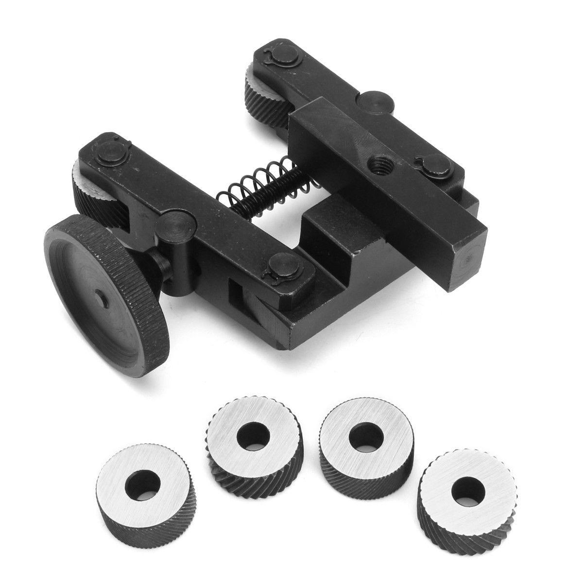 1Set Durable Knurling Tool Holder Linear Knurl Tools Lathe Adjustable Shank + 6pcs CR15 Wheels For Lathe Spindle Bearings
