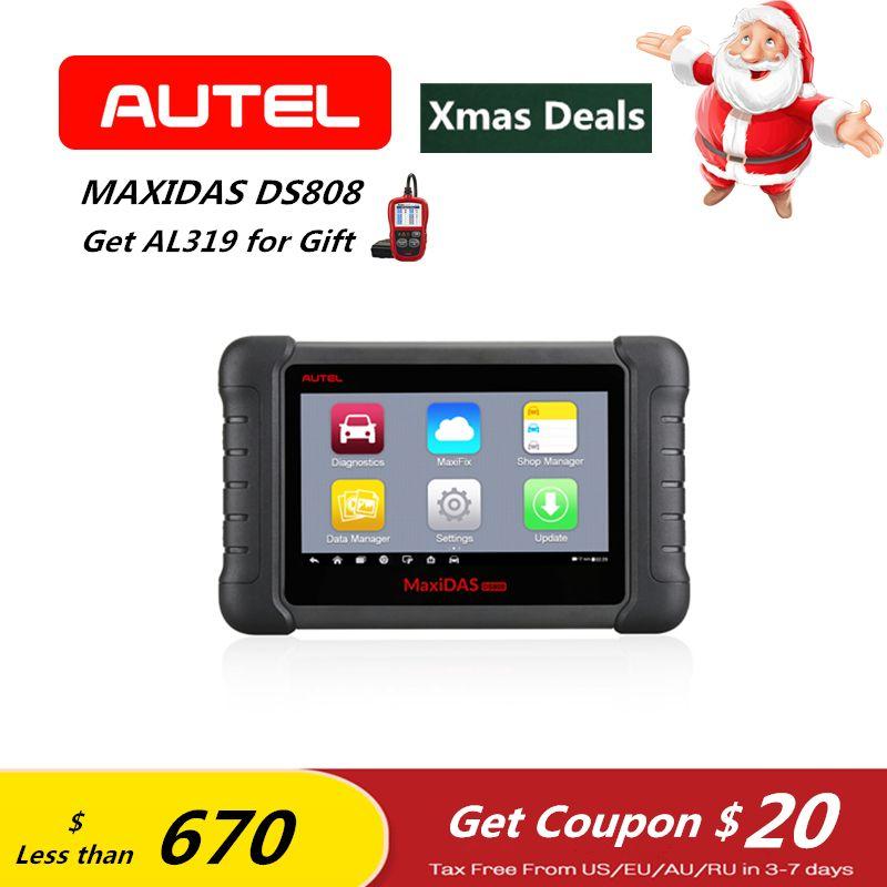 AUTEL MaxiDAS DS808 OBD2 Car Diagnostic Tool Key Fob Programming Tool ECU coding ABS SRS Automotive OBDII Code Reader PK DS708