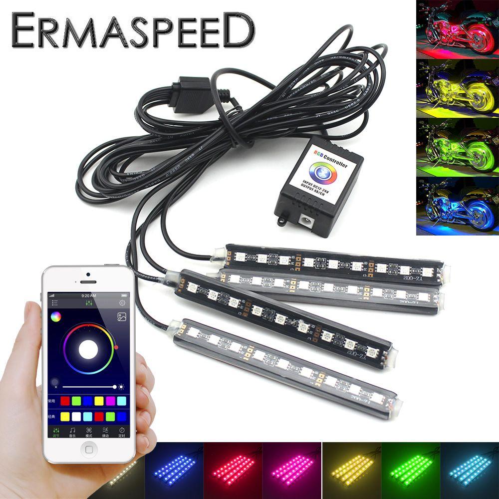 4 DANS 1 Moto LED Atmosphère Bandes Lumière Android IOS App Contrôle RGB Décoratif Romantique LED Lumière Universel pour HONDA