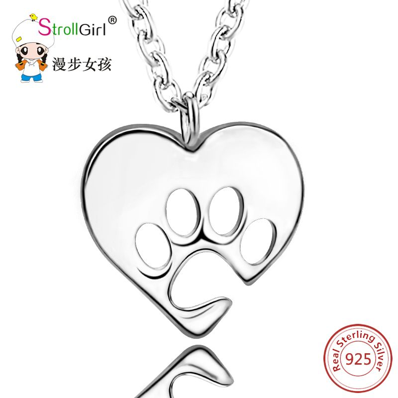Hot Selling Pendant Necklace 925 Sterling Silver Dog Paw in Heart Shape Silver Pendants Chain Necklaces Authentic 925 Silver