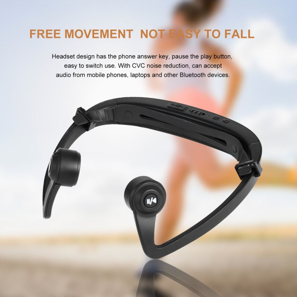 V9 Ear Hook Bluetooth Headset Bone Conduction Sport Headphone With Mic Adjustable headband For IOS Android Smartphone USB Charge