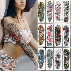 Impermeable etiqueta engomada del tatuaje temporal cráneo Ángel loto Rosa patrón de flor tatuaje con brazo cuerpo arte grande falso tatuaje