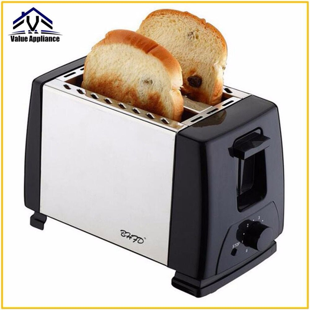 High Quality 2 Slices Toaster Stainless Steel Made Automatic bake Fast heating bread toaster Household Breakfast maker