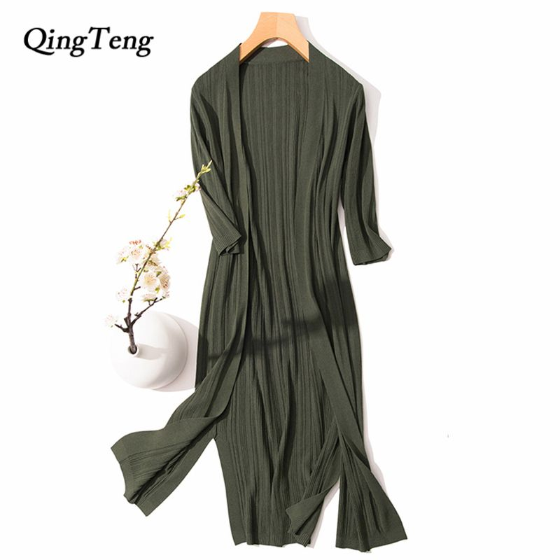 Knitted Cardigan Summer For Women Long Thin Silk Feeling Coat Sun Protection Outwear Air Condition Sweater Slim All Match
