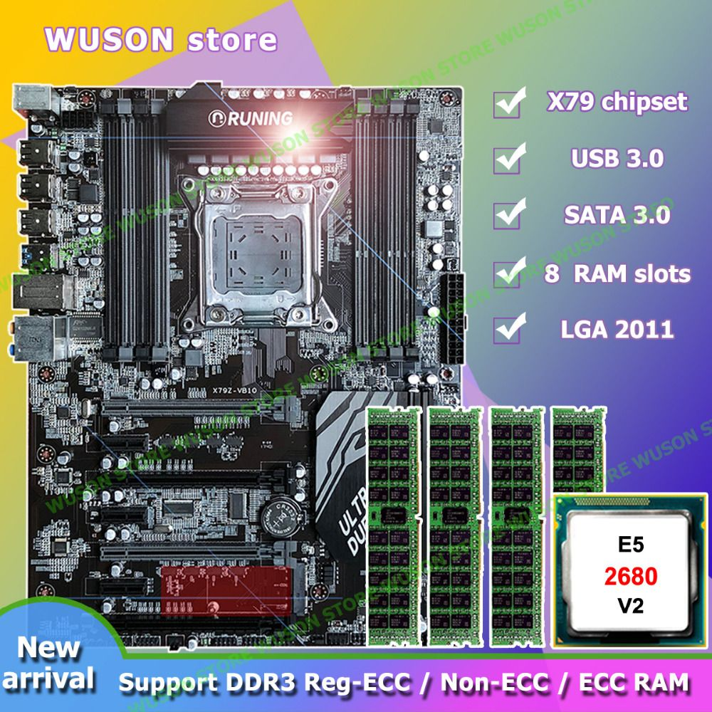 Discount motherboard brand Runing Super ATX X79 motherboard 8 RAM slots Intel Xeon E5 2680 V2 SR1A6 RAM 4*16G 1866MHz DDR3 RECC