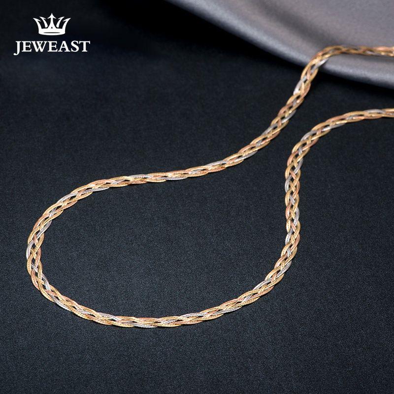 18 karat Gold Halskette Neue Weben Breite Kette Unisex Frauen Männer Mädchen Party Hochzeit Schmuck Trendy Heißer Verkauf 2017 Neue Gute Echt 750 nizza