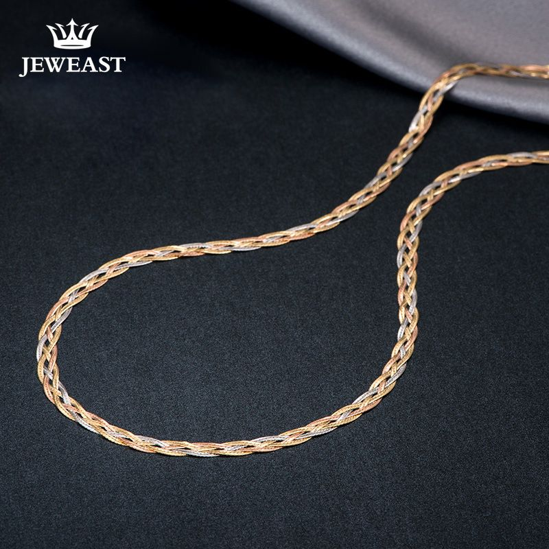 18k Gold Necklace New Weaving Wide Chain Unisex Women Men Girl Party Wedding Jewelry Trendy Hot Sale 2017 New Good Real 750 nice