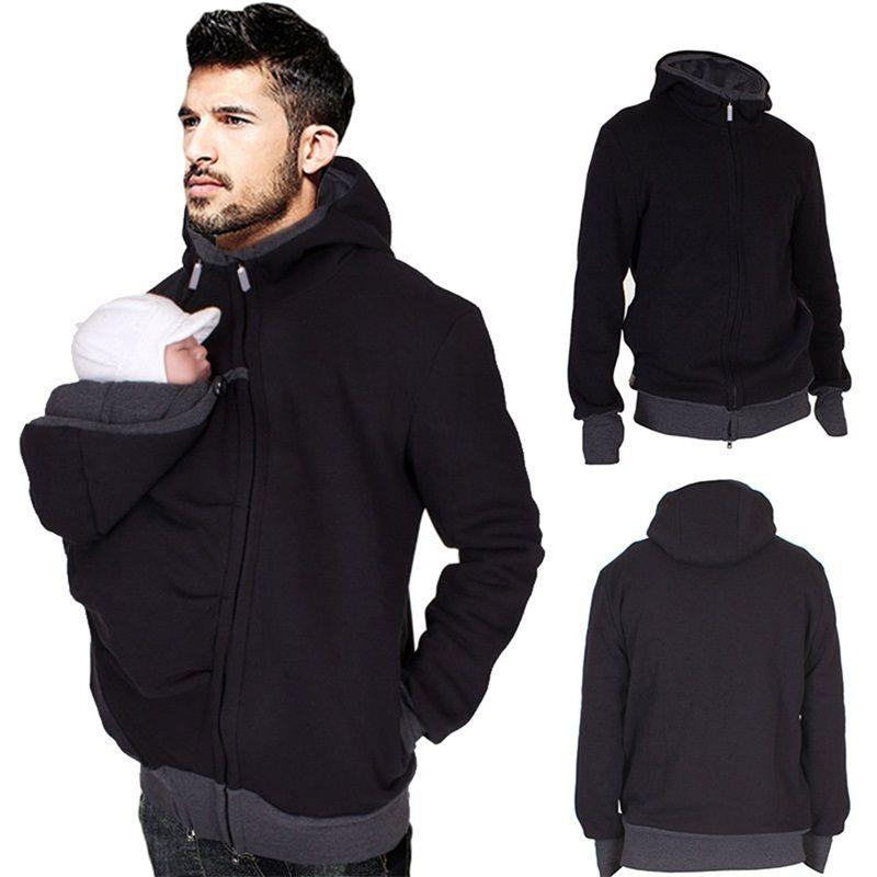 Papa hiver kangourou coton porte-bébé vestes avec fermeture éclair papa manteau hoodies portant transporter infantile sweat hiver des vêtements chauds