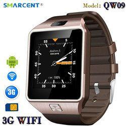 Smarcent 3G Wifi QW09 Android Smart Watch Bluetooth 4.0 Real-Pedometer SIM Kartu Panggilan Anti-Kehilangan Smart Watch PK DZ09 GT08