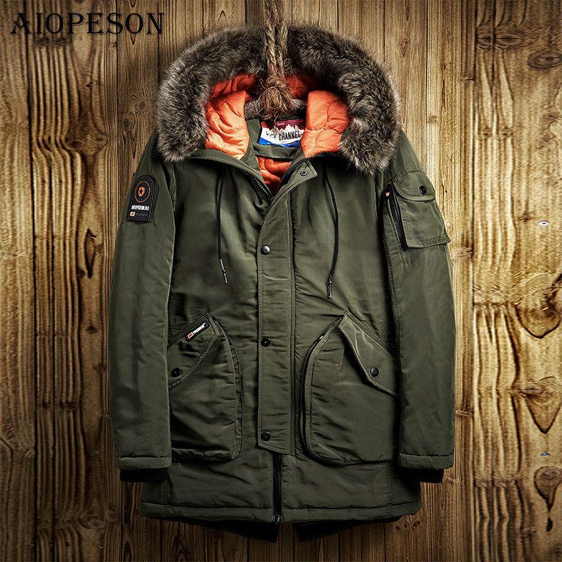 Aiopeson зимняя куртка Для мужчин Повседневные куртки одноцветное Цвет большой карман высокое качество Зимняя мужская куртка Мех животных с ка...