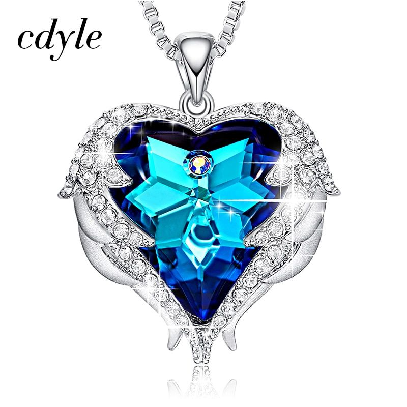 Cdyle Crystals from Swarovski Necklaces Fashion Jewelry For Women Pendant Blue Rhinestone Heart Of Angel Lover Valentine' Gifts