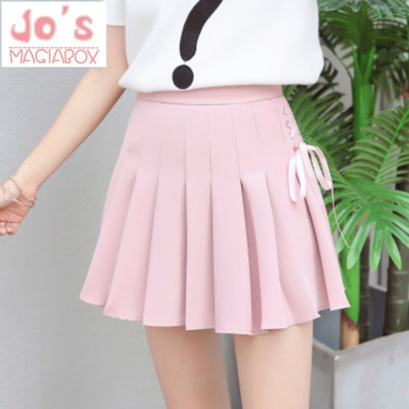 2017 Summer New Fashion Solid Denim Pleated Skirt Harajuku Lace-Up Hight Waist Casual Sexy Micro Mini Short <font><b>School</b></font> Skirts Women