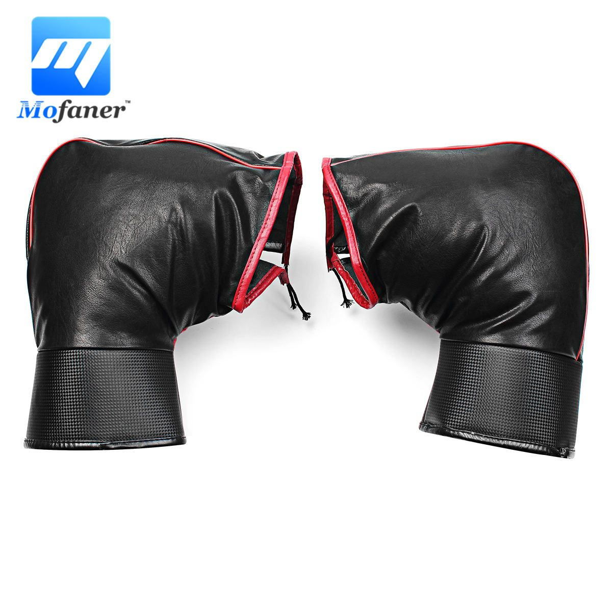 Motorcycle  Handlebar Muffs Snowmobile Waterproof Winter Hand Warm Covers Gloves BLACK universal Leather glove