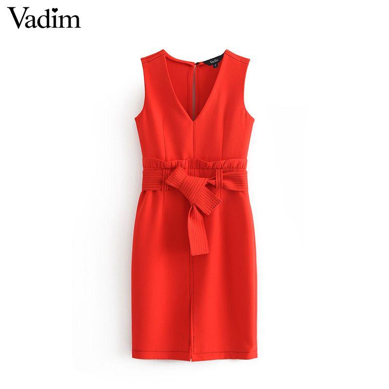 Vadim mulheres elegante decote em Vvestido vermelho ruffled bow tie caixilhos mangas slidos feminino desgaste do escritrio mi
