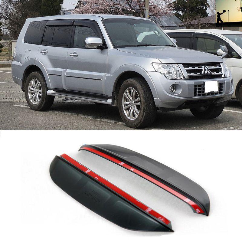 POUR Mitsubishi PAJERO V73 De 1999-2006 Carbone rétroviseur sourcil de pluie Pluie Lame Flexible Protecteur de Voiture