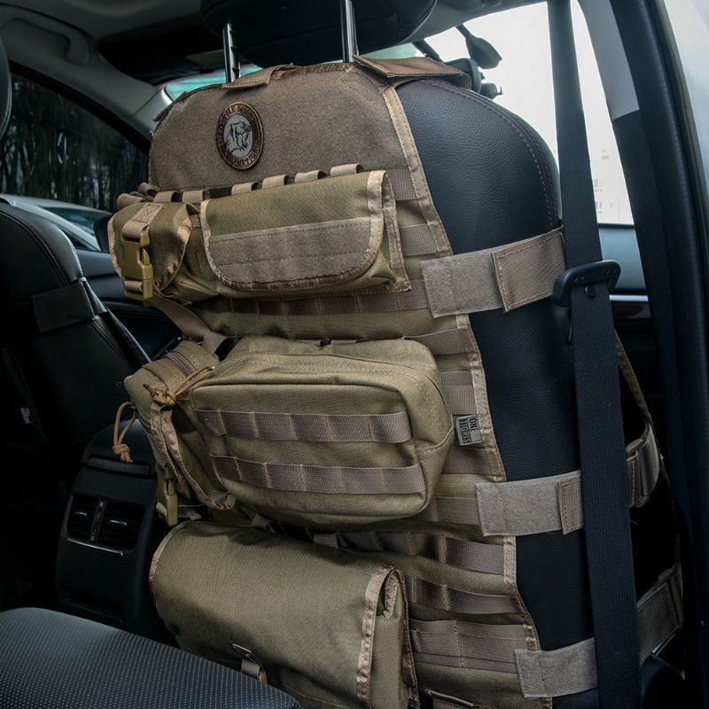 OneTigris Taktische Molle 1000D Nylon Autositzbezüge Mit 6 Beutel für Vordersitz Stuhl Passt Alle Autos Jeep CJ YJ TJ LJ WRANGLER