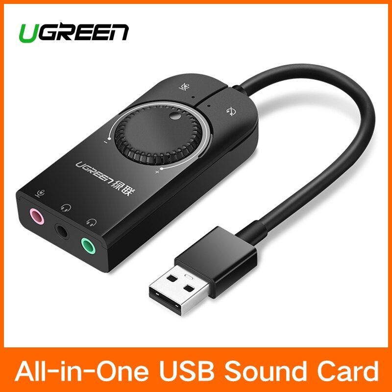 Ugreen USB Soundkarte Externe Audio Karte 3,5mm USB Adapter USB zu Kopfhörer Kopfhörer Audio-Interface für Computer-Sound karte
