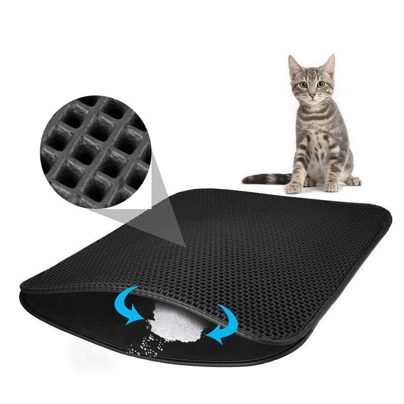 Imperméable à l'eau pour animaux de compagnie chat litière tapis EVA Double couche chat litière piégeage animaux tapis Pad fond antidérapant pour animaux de compagnie litière chat tapis plancher