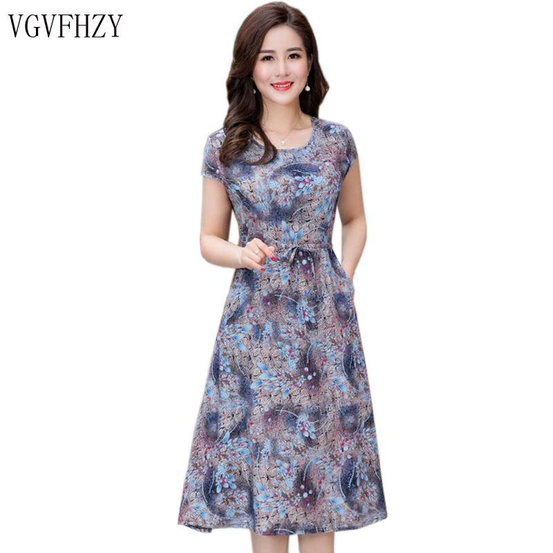 Women's Summer Dresses new 2018 New Middle-Aged Fashion Print Loose Dress Casual Short Sleeve Plus Size long dress Vestidos Y834