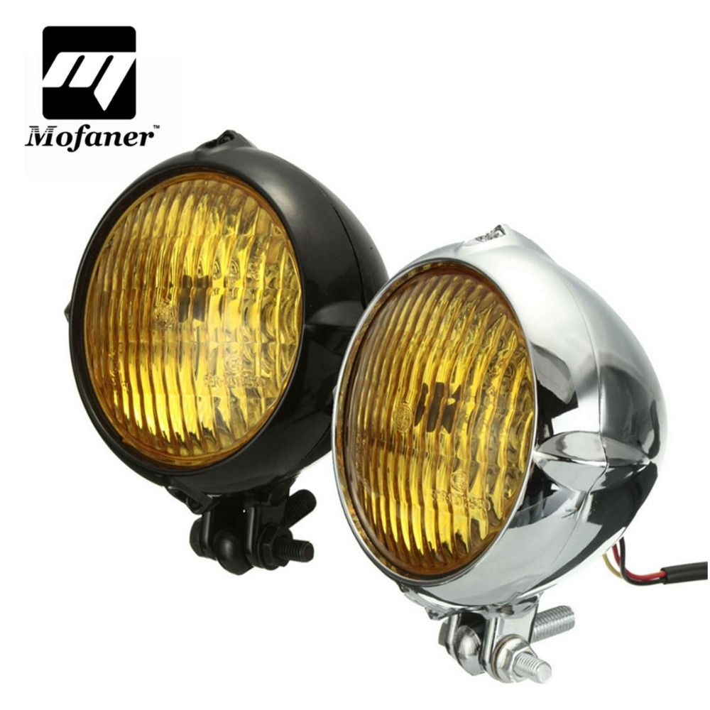 New Chrome Black Motorcycle 4 inch Yellow Light Lamp Headlight For Harley Bobber Chopper