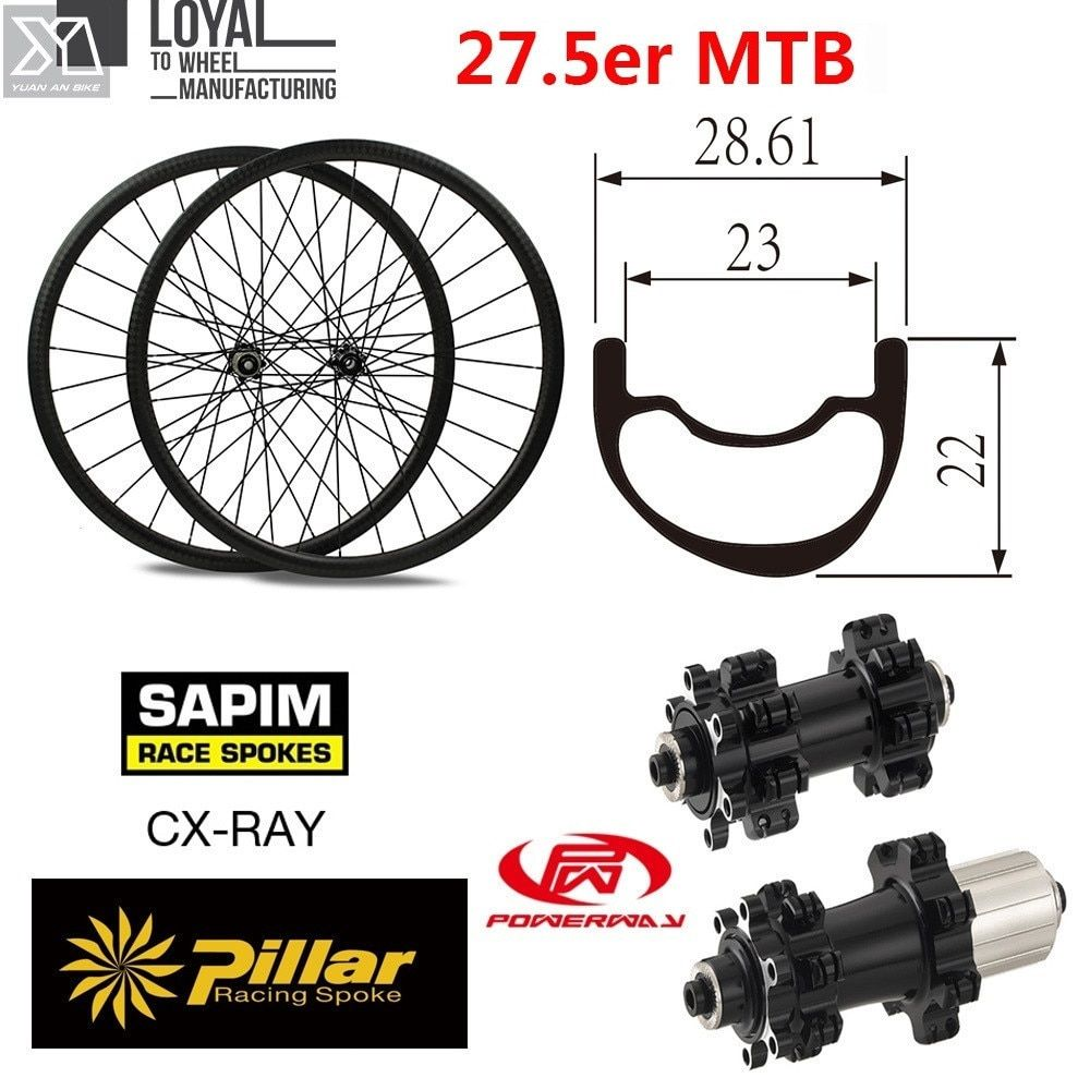 27.5er 650B Carbon MTB Bike Laufradsatz 28mm Breite 22,61mm Tiefe Chinesische XC Mountainbike Räder mit Powerway M42 hub