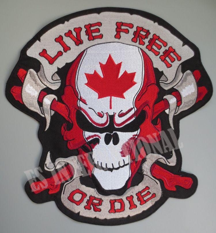 12 pouces de gros patchs de broderie pour veste arrière gilet moto motard coudre sur le crâne de feuille d'érable du CANADA vivre libre ou mourir