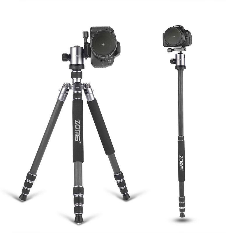 ZOMEI tripod 5 colors  Z818C Professional Travel Carbon Fiber camera tripod Monopod&Ball head with case for DSLR Canon camera