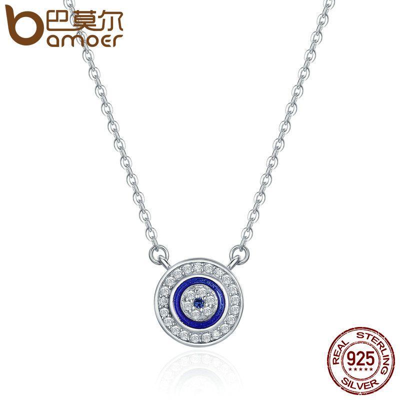 BAMOER Heißer Verkauf 100% 925 Sterling Silber Glück Blau Auge Klar CZ Anhänger Halskette Frauen Luxus Sterling silber Schmuck SCN165