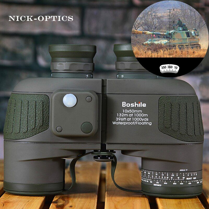 Boshile Binoculars 10x50 Professional Marine Binoculars Waterproof Digital Compass Hunting Telescope High power Lll night vision