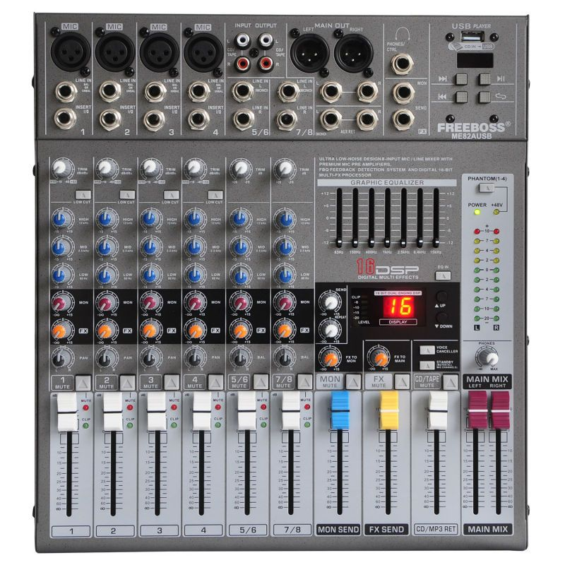 Freeboss ME82 Ultra low noise 4 Mono + 2 stereo 8 channels 16 DSP USB professional dj audio mixer console