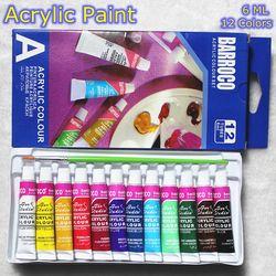 6 ML 12 Couleurs Professionnel Acrylique Peintures Set Peint À La Main Mur Peinture Peinture Textile Aux Couleurs Vives Art Fournitures Brosse Libre