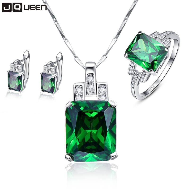 Hope of Green Fine Jewelry Sets Emerald Silver 925 Sterling Pendant Necklace with Earrings Stud Set Green Rings Sz 6-9 for Women