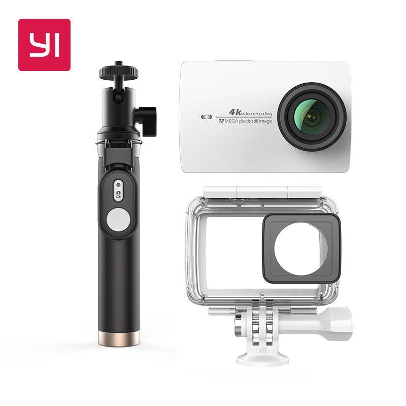 YI 4 Karat Action Kamera Bundle Mit Wasserdichten gehäuse und Selife Stick 2,19