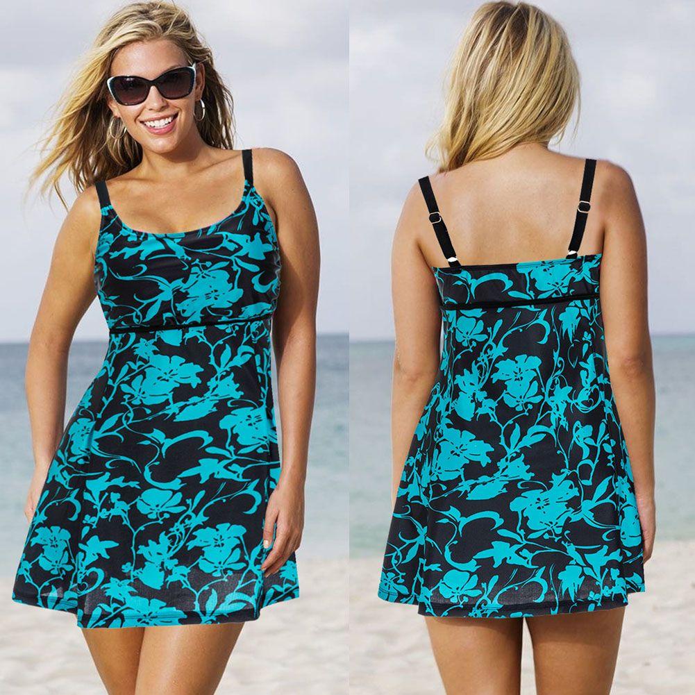 Sexy Big Size blumendruck Rock Bademode Frauen Padded zweiteilige Anzüge Badeanzug Beachwear-badeanzug Badebekleidung Kleid M-2XL