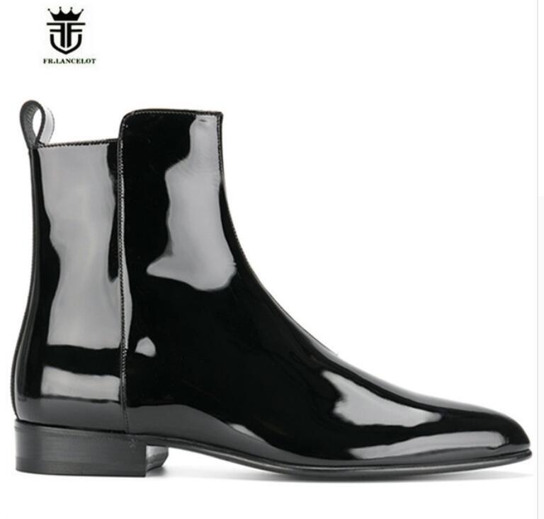 FR. LANCELOT 2018 männer lackleder stiefel marke desigh männer mode stiefel zip up mujer bota spitz chelsea booties