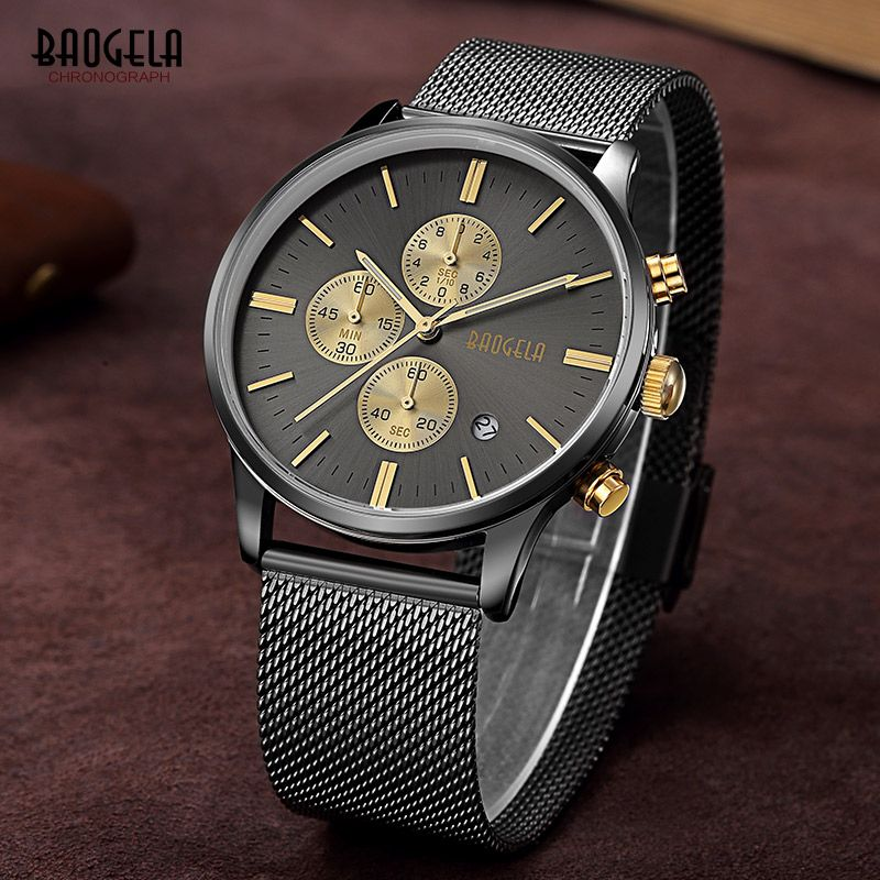 Baogela Mens Chronograph Black Stainless Steel Mesh Strap Military Sport Quartz Wrist Watches with Luminous Hands 1611G