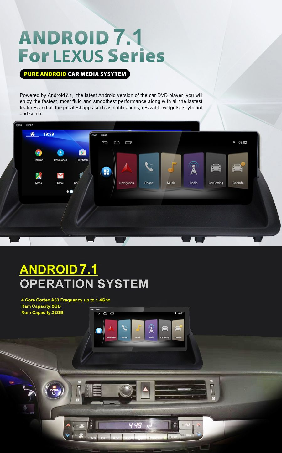 Quad core Android 7.1 Auto multimedia 10,25