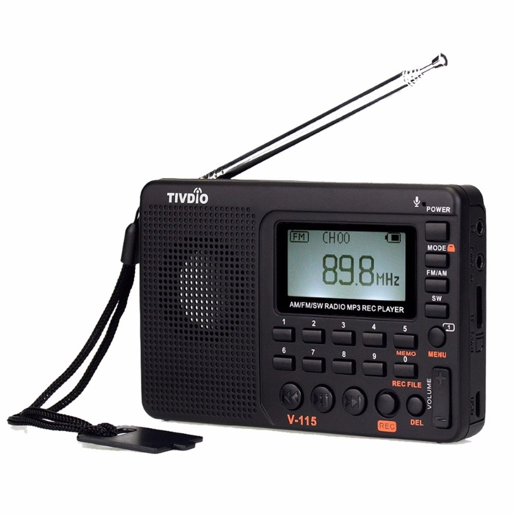 TIVDIO V-115 FM/AM/SW Radio <font><b>Receiver</b></font> Bass Sound MP3 Player REC Recorder Portable Radio with Sleep Timer F9205A