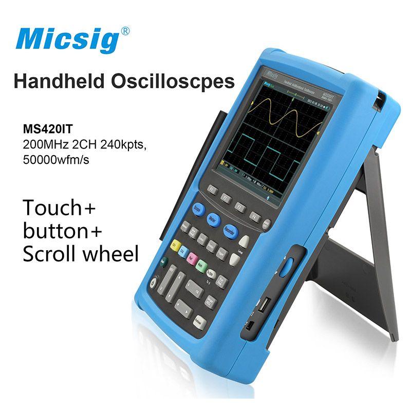 Micsig 100 MHz 200 mhz 2CH oszilloskop handheld oscillograph digitale oszilloskop virtuelle osciloscopio portatil MS400 serie
