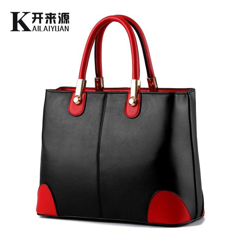 KLY 100% Echtem leder Frauen handtaschen 2018 Neue tasche dame in schwarz und weiß damen mode handtaschen Schulter Messenger Handtasche