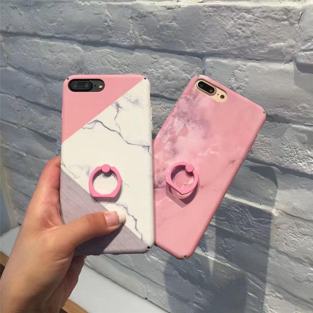 Fashion Pink Marble Stitching Hard phone Cases For iphone 7 case For iPhone 7 7 Plus 6 6S Plus Ring Grip Back Fundas Capa Cover