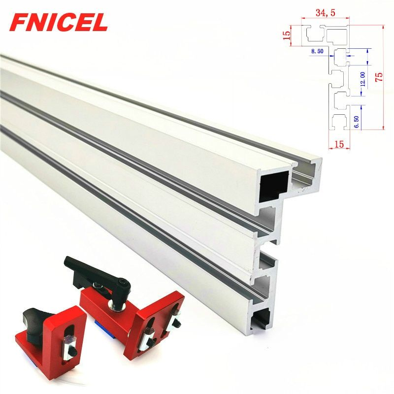 600mm/800mm Aluminium Profile Fence 75mm Height with T-tracks and Sliding Brackets Miter Gauge Fence Connector for Woodworking
