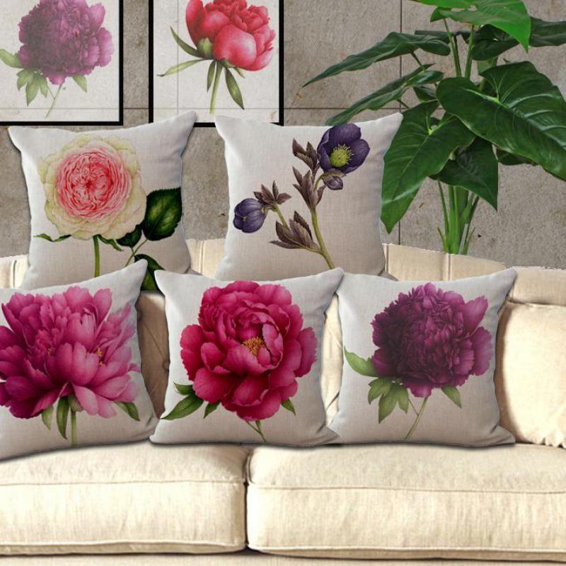 New Rose Blume Kleine Frische Baumwolle Leinenkissen Home Sofa Auto Dekorative Kissen Decor Kissen