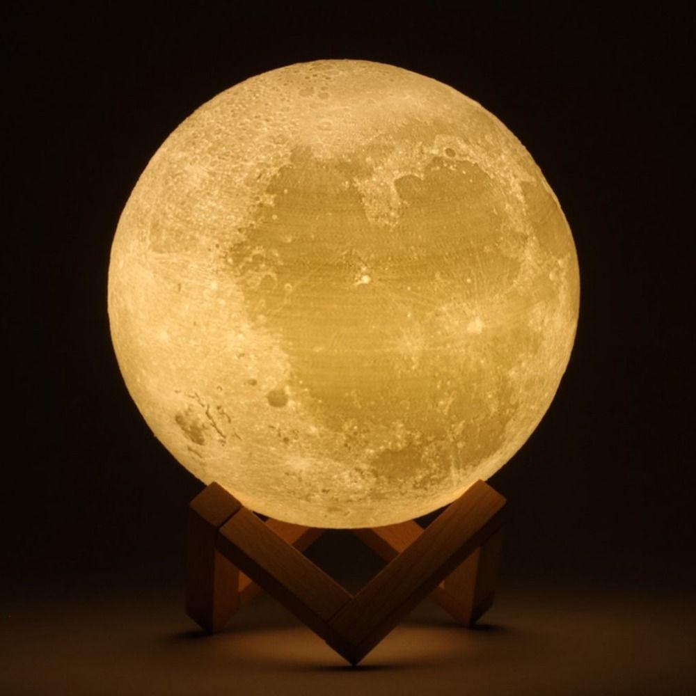 Rechargeable 3D Impression Lune LED Changement De La Lampe Tactile Commutateur Chambre Bibliothèque LED Lumière De Noël Décor Pour La Maison Festival Cadeau