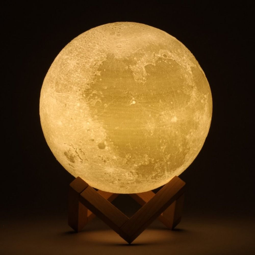 Rechargeable 3D Print Moon LED Lamp 2 Color Change Touch Switch Bedroom Bookcase Light Home Christmas Decor Gift