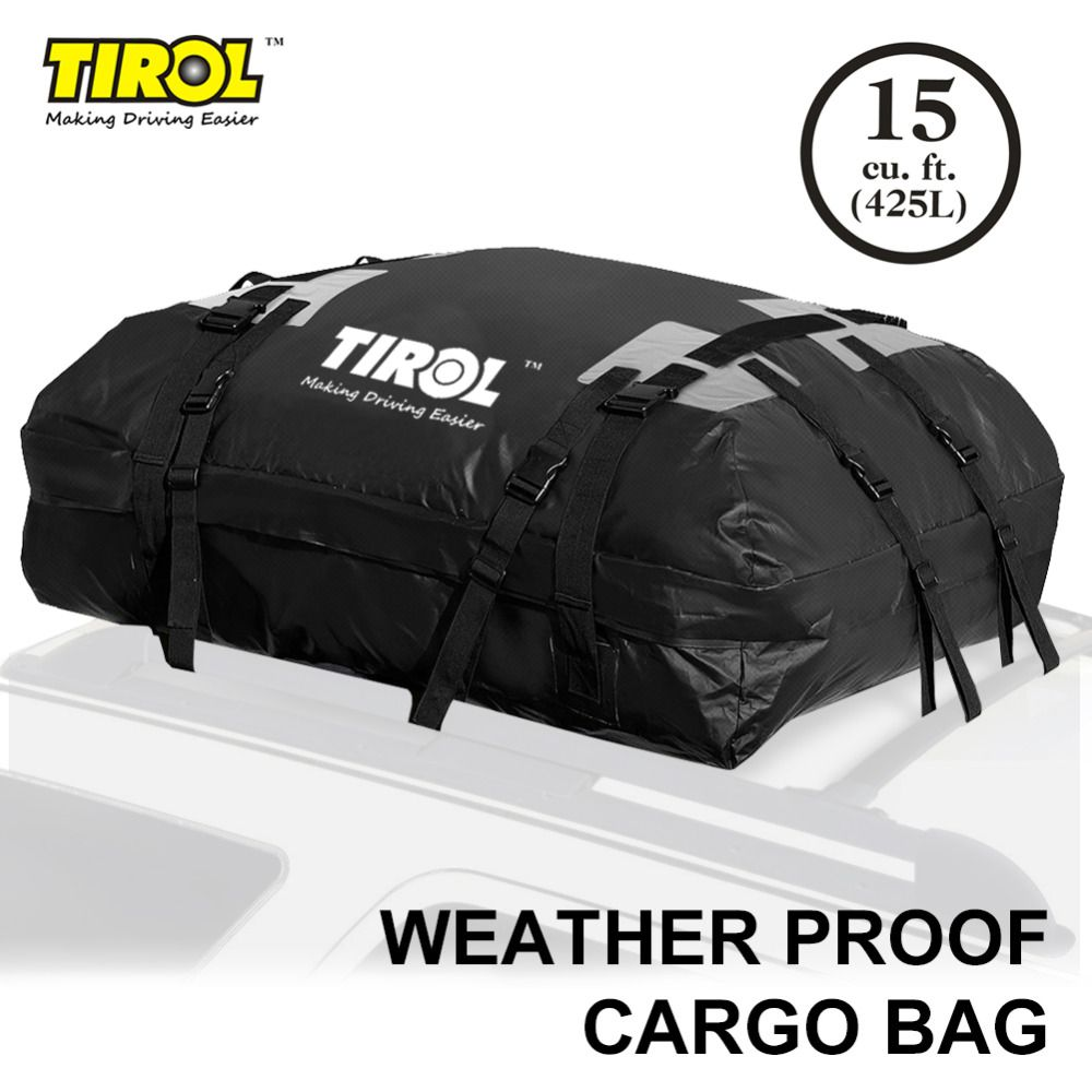TIROL Waterproof Roof Top Carrier Cargo Luggage Travel Bag (15 Cubic Feet) For Vehicles With Roof Rails T24528a Free Shipping