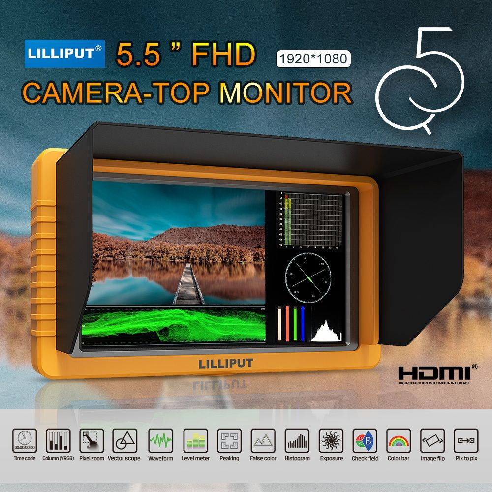 LILLIPUT Monitor Q5 5 inch 1920*1080 Full HD Monitor with SDI HDMI Cross Conversion Metal Housing High Resolution to Camcorder