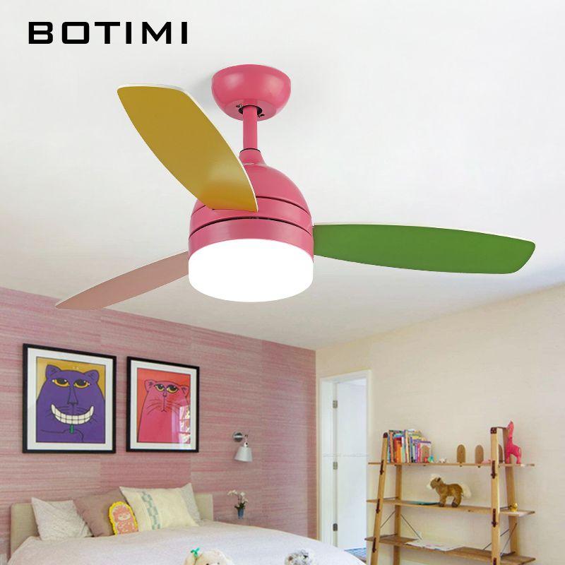 Botimi Led Decke Fans Mit Lichter Für Kinder Zimmer Ventilador De Teto 220 Volt Decke Fans Lampe Schlafzimmer Lüfter beleuchtung