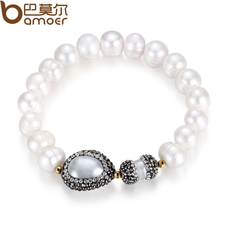 BAMOER New Girl Real Natural White Fresh Water Pearl Bracelet for Women High Quality Female Jewelry Accessories NSB001